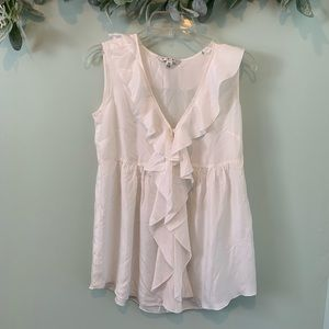 BOGO 50% CAbi White SilkRuffle Button Front Tunic